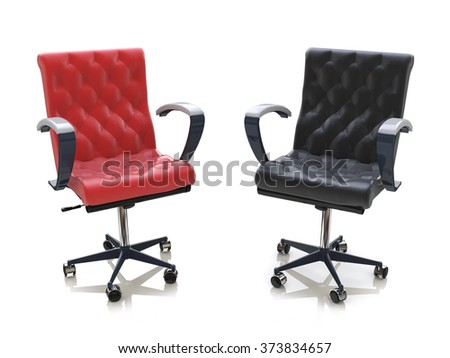 Two office chairs in the design of information related to business - stock photo