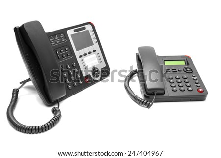 Two office phone isolated on white background - stock photo