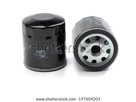 Two oil filter for a car. Isolate on white. - stock photo