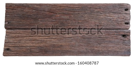 Two old planks of driftwood isolated on white background - stock photo