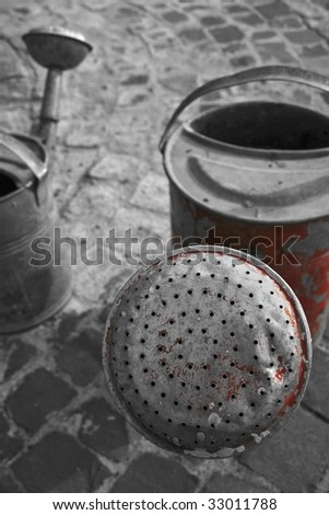 two old watering pot - stock photo