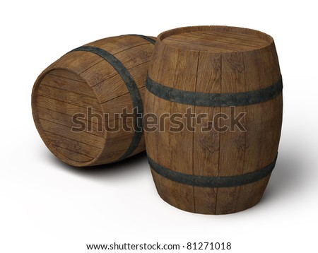 two old wooden barrels - 3d illustration isolated on white - stock photo