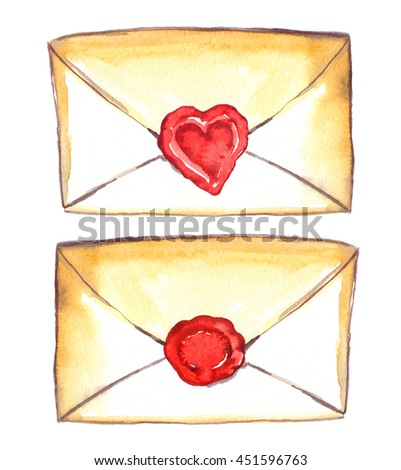 Two old yellowish envelopes with round and heart-shaped red seals painted in watercolor on white isolated background - stock photo