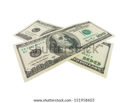 Two one hundred dollar bills crossed. Isolated on white background - stock photo
