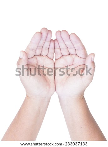 Two open empty hands with palms up, isolated on white background - stock photo