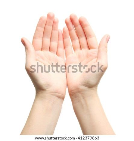 Two open female hands on white background - stock photo
