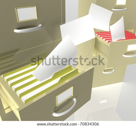 Two open office drawer filled with folders of which fly sheets paper - stock photo