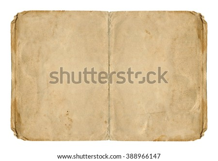 Two open paper pages with old spots isolated on white background. Vintage book.  - stock photo