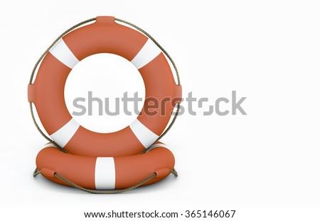Two Orange Lifebuoy on white background  - stock photo