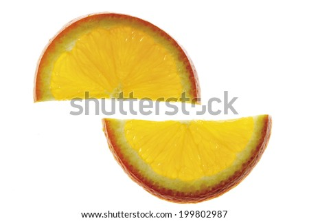 Two orange slices, elevated view, close-up - stock photo