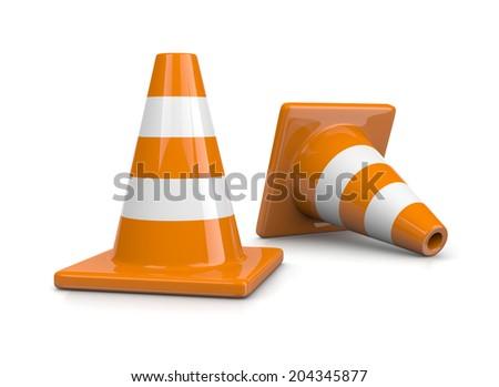 Two Orange Traffic Cones on White Background - stock photo