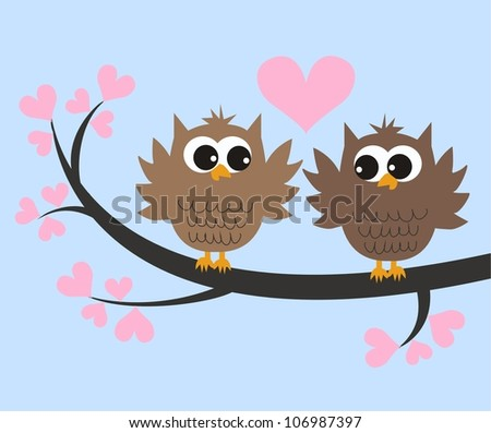 two owls in love - stock photo