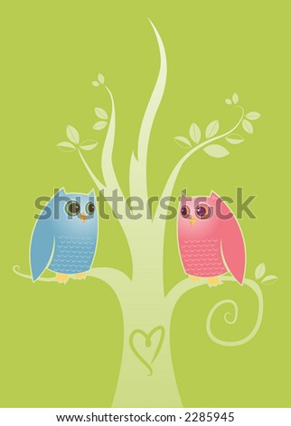 Two owls in love - perched in a tree with a heart carved into the trunk - stock photo