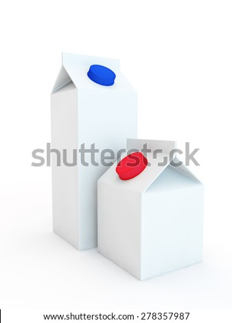 two packings for milk or juice, one high with a capacity of one liter, and the second is less - stock photo