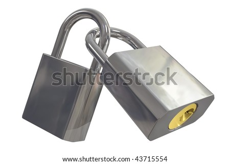 Two padlocks locked together including clipping path - stock photo