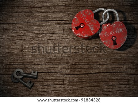 two padlocks with together forever written as concept for eternal  love on a wood background - stock photo