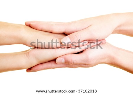 Two pair of hands touching each other - stock photo