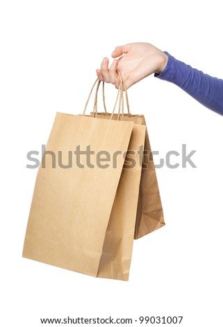Two paper bags in a woman hand isolated over white background - stock photo