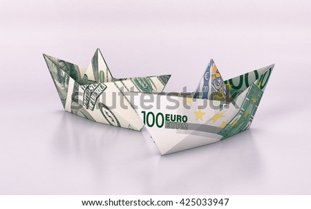 two paper boats made with dollar and euro banknotes, concept of business and finance (3d render) - stock photo