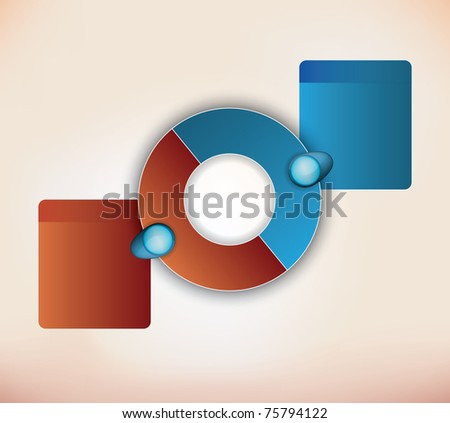 two parts presentation diagram with place for description for each item - stock photo