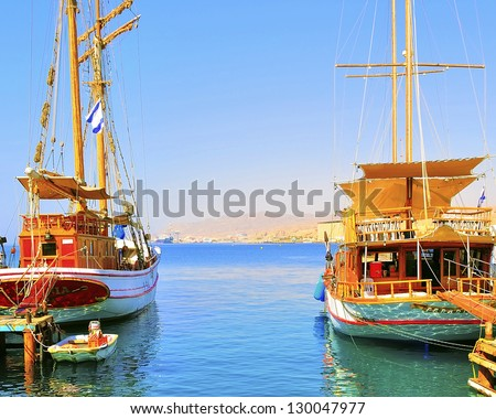Two passenger gulets in Eilat awaiting departure - stock photo