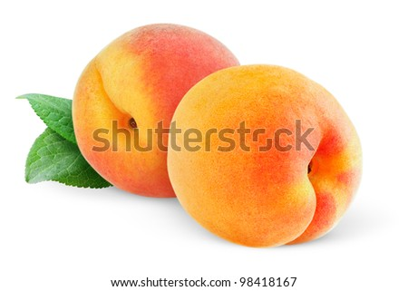 Two peaches (or apricots) isolated on white - stock photo