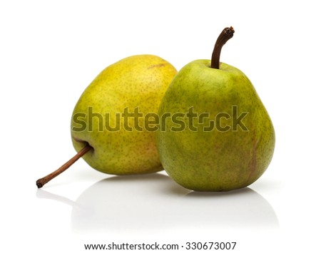 two pear isolated - stock photo