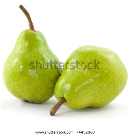 two pears isolated on white background - stock photo