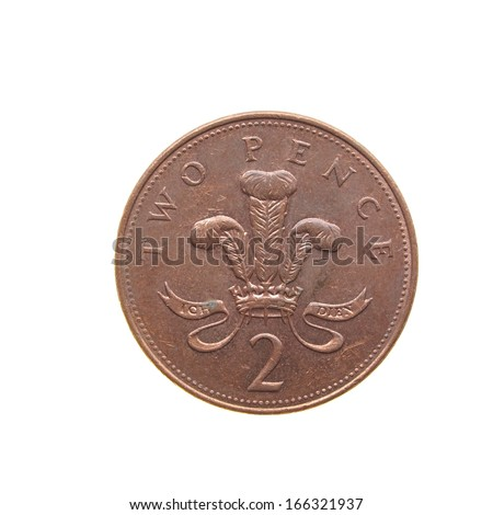 Two Pence coin isolated over a white background - stock photo