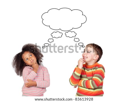 Two pensive children isolated on white background - stock photo