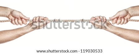 Two people are pulling a rope competing hands. On a white background. - stock photo