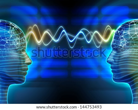 Two people communicating by telepathy. Digital illustration. - stock photo