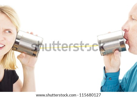 Two people having a conversation - stock photo