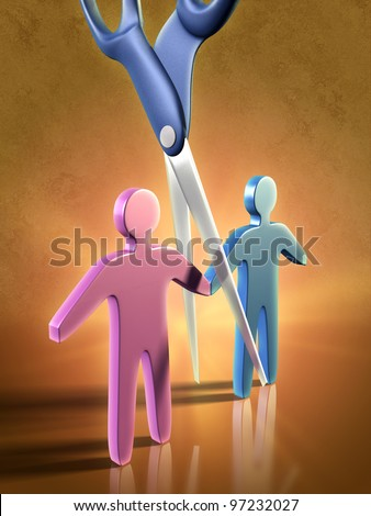 Two people icons being separated by a pair of scissors. Digital illustration. - stock photo