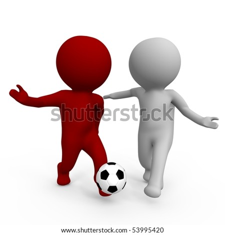 Two people playing soccer - a 3d image - stock photo