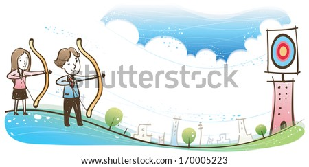 Two people shooting arrows at a target. - stock photo