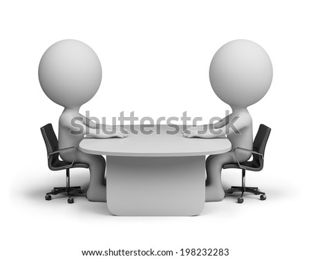Two people sitting at the table talking. 3d image. White background. - stock photo