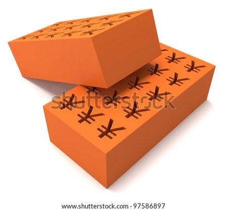 Two perforated bricks with a yen sign on white backgound - stock photo