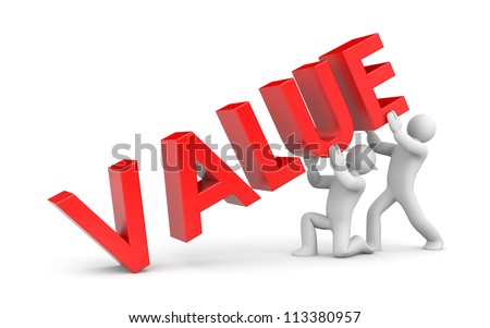Two person with VALUE 3d text - stock photo