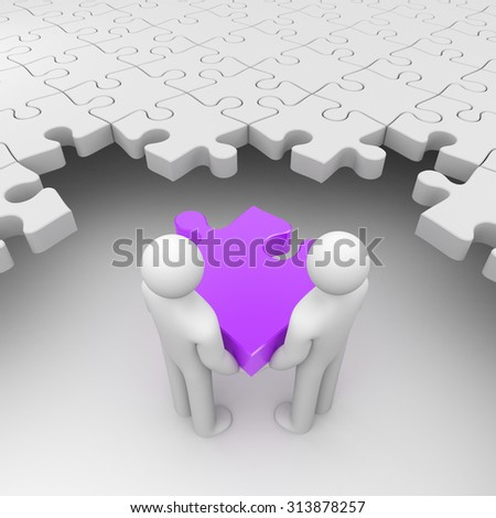 Two persons holding purple puzzle surrounded by white puzzles - stock photo