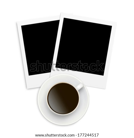 Two photo papers card and coffee cup isolated on white background - stock photo
