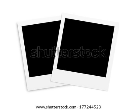 Two photo papers card isolated on white background - stock photo
