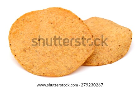 two piece of tortilla chips on white background  - stock photo