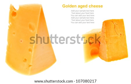two pieces of french gourmet cheeses  isolated over white background - stock photo