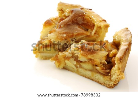 two pieces of fresh apple pie on a white background - stock photo