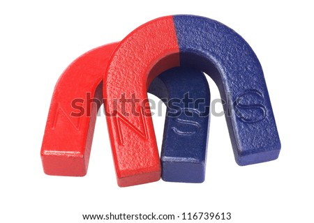 Two Pieces of Horseshoe Magnets on White Background - stock photo
