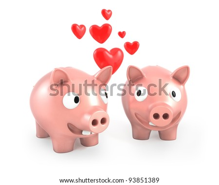 Two piggy banks fall in love, isolated on white background - stock photo
