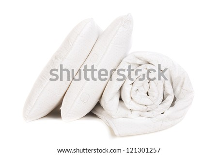 two pillows and duvet  isolated on white - stock photo