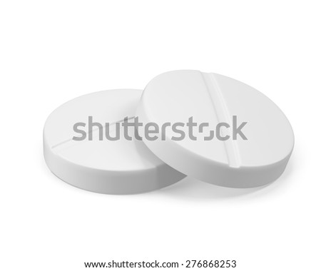 Two pills isolated on white background. 3d illustration High resolution - stock photo