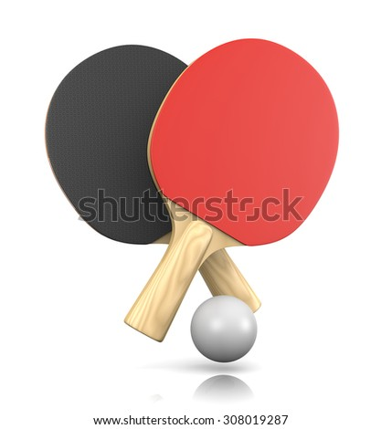 Two Ping-Pong Bats and One Ball 3D Illustration on White Background - stock photo